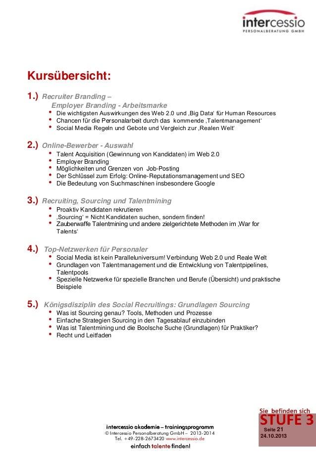 Kursübersicht: 1.)  Recruiter Branding – Employer Branding - Arbeitsmarke  • • •  2.)  3.)  4.)  Online-Bewerber - Auswahl...