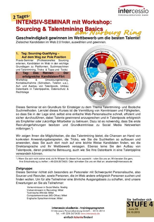 INTENSIV-SEMINAR mit Workshop: Sourcing & Talentmining Basics  am Nürburg Ring  Geschwindigkeit gewinnen im Wettbewerb um ...