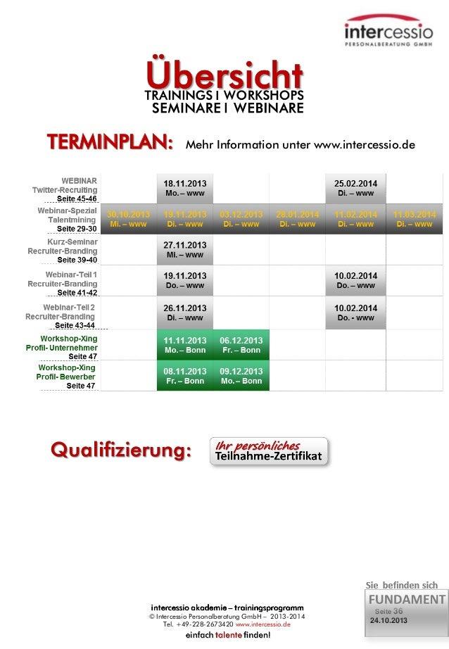TERMINPLAN:  Mehr Information unter www.intercessio.de  © Intercessio Personalberatung GmbH – 2013-2014 Tel. +49-228-26734...