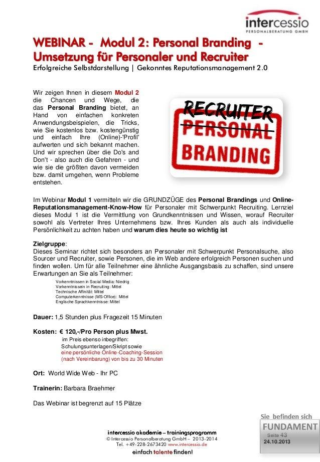 WEBINAR - Modul 2: Personal Branding Umsetzung für Personaler und Recruiter  Erfolgreiche Selbstdarstellung   Gekonntes Re...