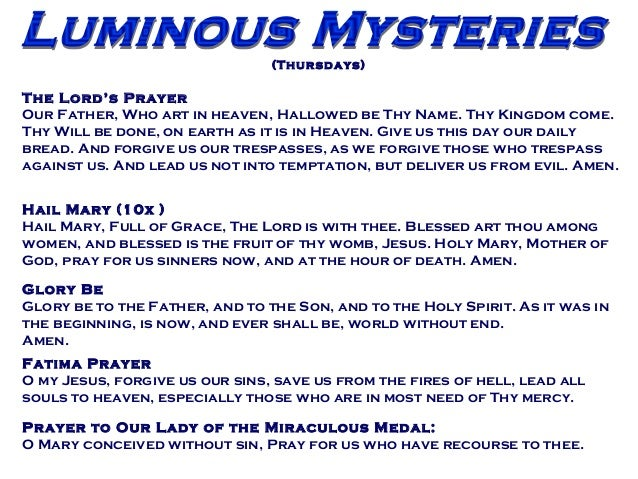 photograph relating to Luminous Mysteries of the Rosary Printable named Partners For Christ Intercessory Prayer- Luminous Mysteries