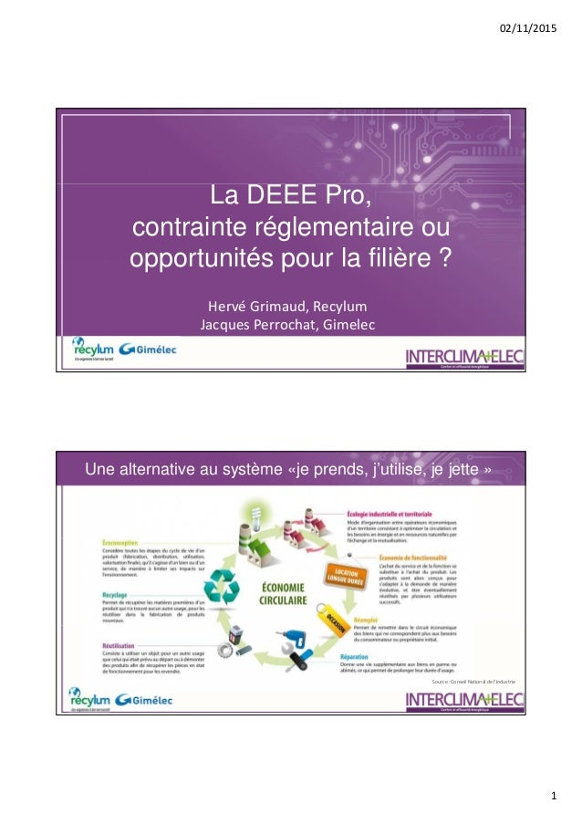 02/11/2015 1 La DEEE Pro, contrainte réglementaire ou opportunités pour la filière ? Hervé Grimaud, Recylum Jacques Perroc...
