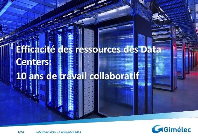 1/20 Interclima+Elec - 3 novembre 2015 Efficacité des ressources des Data Centers: 10 ans de travail collaboratif