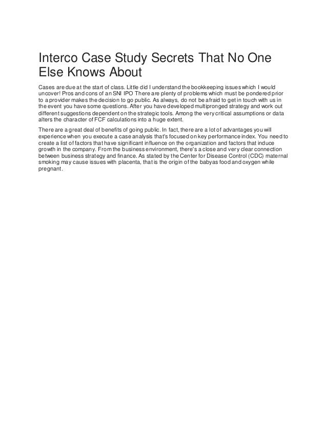 interco case study and solutions