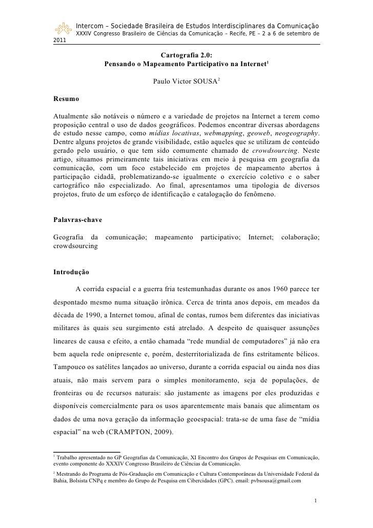 Intercom – Sociedade Brasileira de Estudos Interdisciplinares da Comunicação        XXXIV Congresso Brasileiro de Ciências...