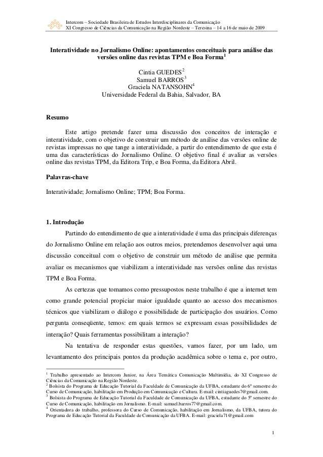 Intercom – Sociedade Brasileira de Estudos Interdisciplinares da Comunicação XI Congresso de Ciências da Comunicação na Re...