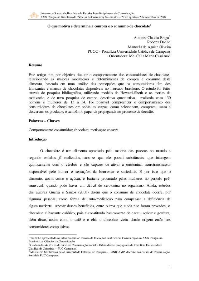 Intercom – Sociedade Brasileira de Estudos Interdisciplinares da Comunicação XXX Congresso Brasileiro de Ciências da Comun...