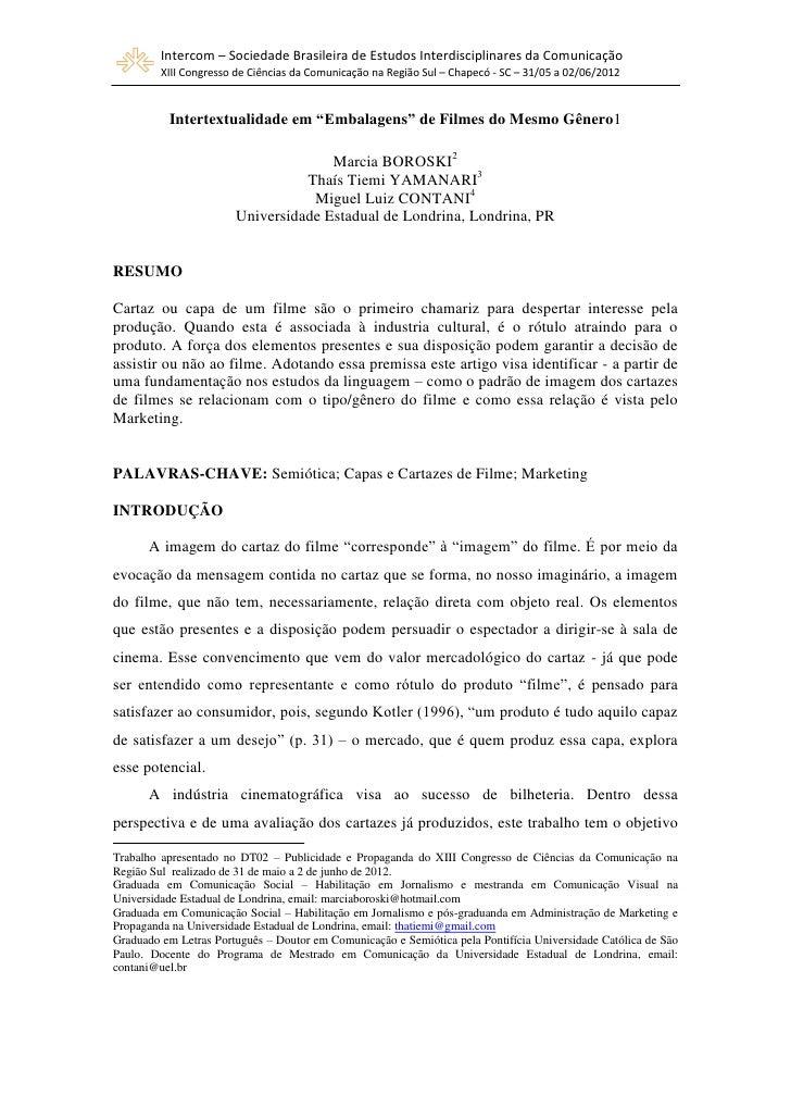 Intercom – Sociedade Brasileira de Estudos Interdisciplinares da Comunicação         XIII Congresso de Ciências da Comunic...