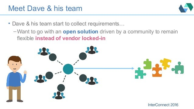 Meet Dave & his team • Dave & his team start to collect requirements… – Want to go with an open solution driven by a commu...