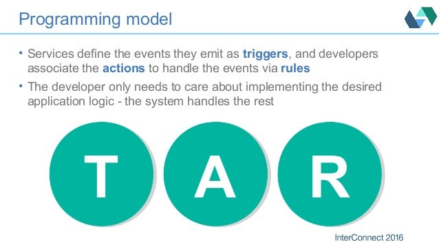 Programming model • Services define the events they emit as triggers, and developers associate the actions to handle the e...