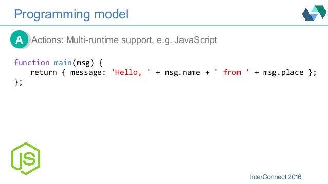 Programming model Actions: Multi-runtime support, e.g. JavaScriptAA functionmain(msg){ return{message:'Hello,'+msg...