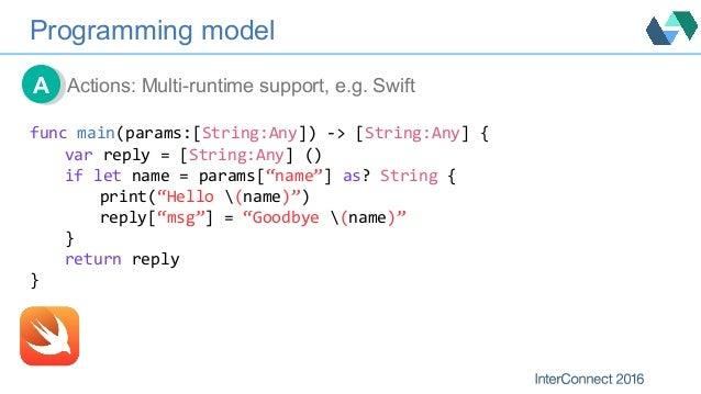 Programming model Actions: Multi-runtime support, e.g. SwiftAA funcmain(params:[String:Any])->[String:Any]{ varreply...