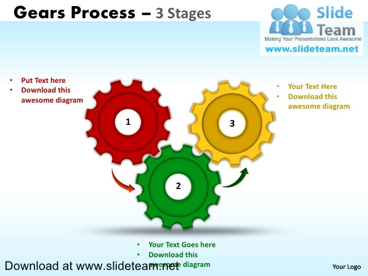 Gears Process – 3 Stages•   Put Text here•   Download this                                  •   Your Text Here    awesome ...