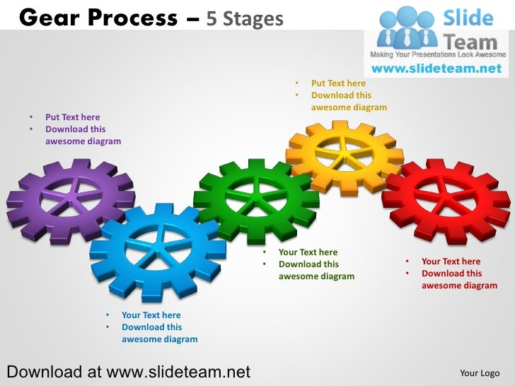 interconnected gear pieces smart arts process 5 stages style 2 power…, Modern powerpoint