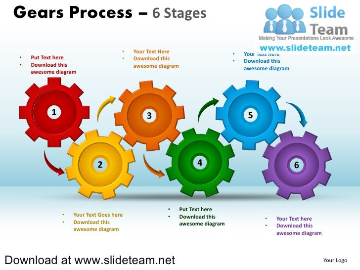 Interconnected Gear Pieces Smart Arts Process 6 Stages Style 1 Power…