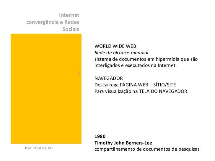 Internetconvergência e Redes              Sociais                           WORLD WIDE WEB                           Rede ...