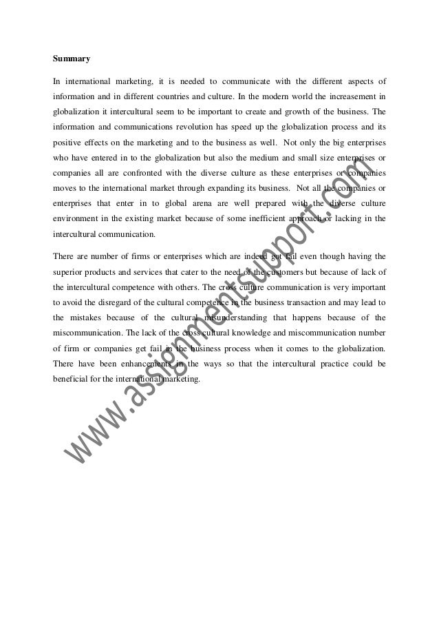 intercultural communication in international market essay sample from  intercultural communication in international market report submitted by student 2