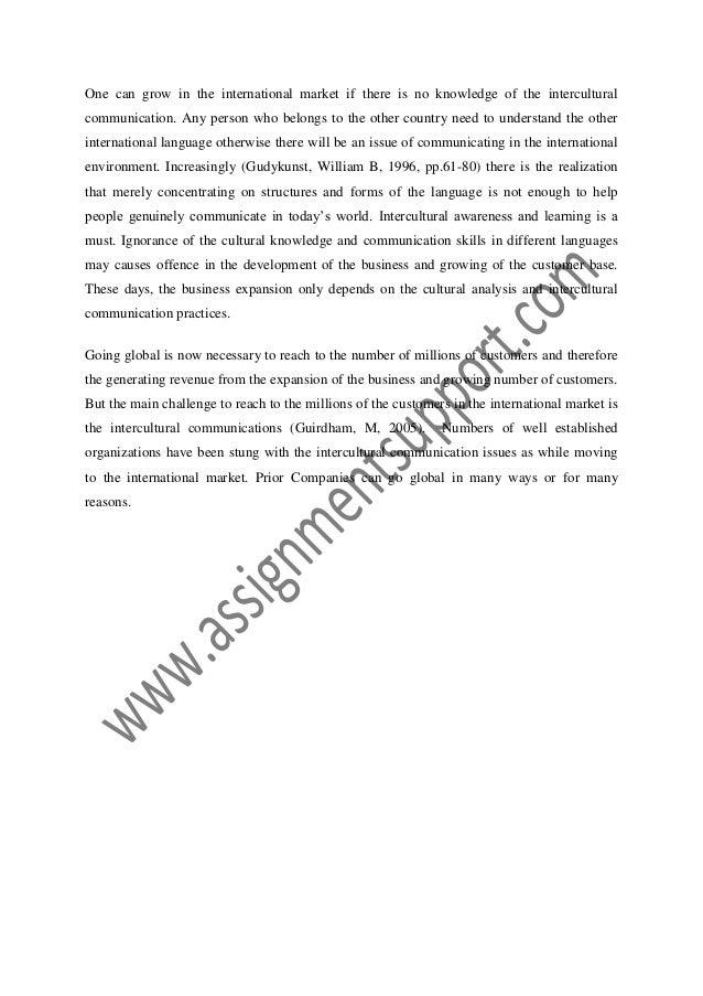 Intercultural communication essay
