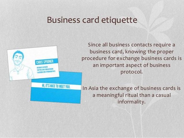 Intercultural business etiquette and protocol business card etiquette colourmoves
