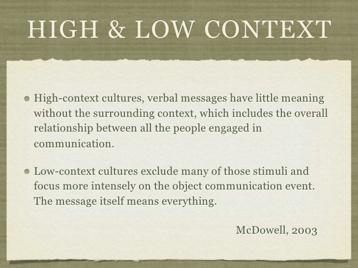 HIGH & LOW CONTEXTHigh-context cultures, verbal messages have little meaningwithout the surrounding context, which include...