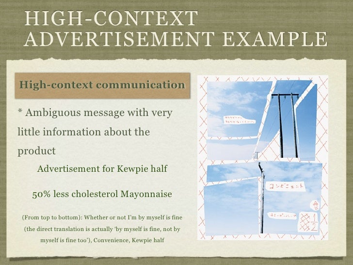 HIGH-CONTEXT ADVERTISEMENT EXAMPLEHigh-context communication* Ambiguous message with verylittle information about theprodu...