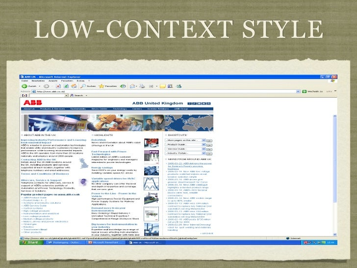 LOW-CONTEXT STYLE