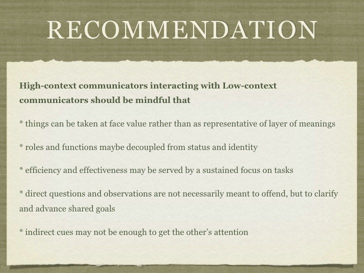 RECOMMENDATIONHigh-context communicators interacting with Low-contextcommunicators should be mindful that* things can be t...