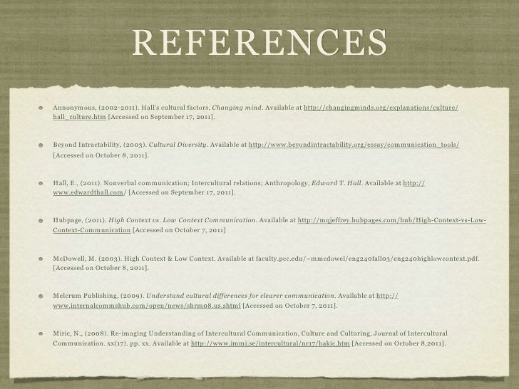 REFERENCESAnnonymous, (2002-2011). Hall's cultural factors, Changing mind. Available at http://changingminds.org/explanati...