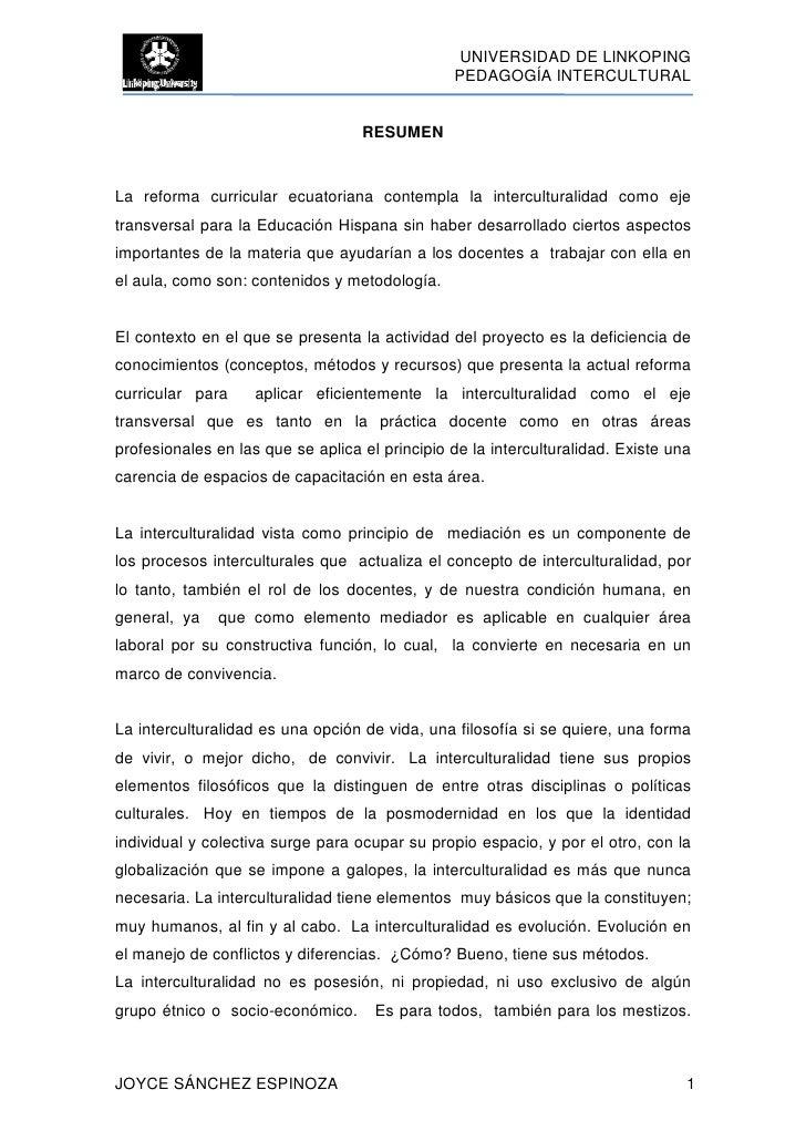 UNIVERSIDAD DE LINKOPING                                                PEDAGOGÍA INTERCULTURAL                           ...