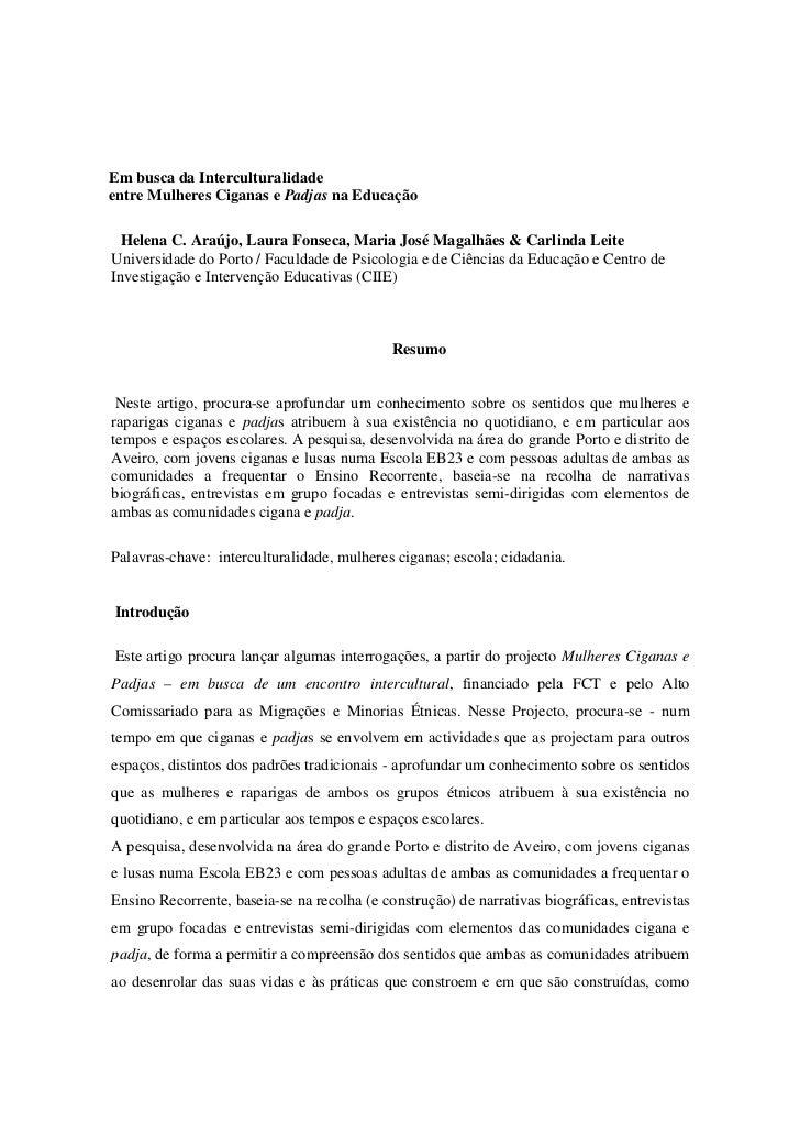Em busca da Interculturalidadeentre Mulheres Ciganas e Padjas na Educação  Helena C. Araújo, Laura Fonseca, Maria José Mag...