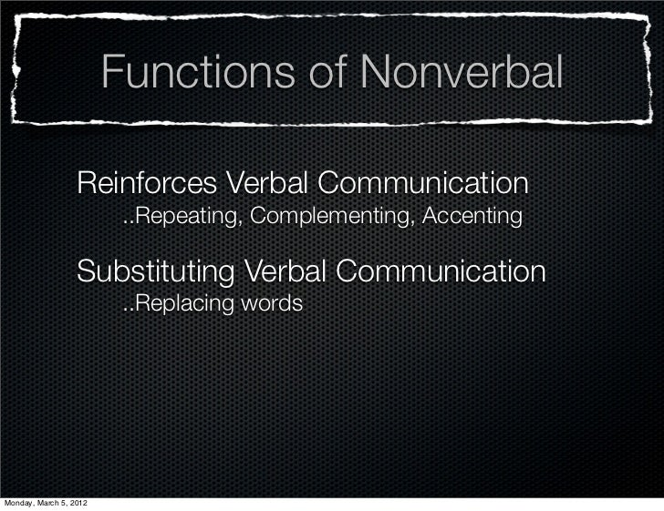 Functions of Nonverbal                  Reinforces Verbal Communication                         ..Repeating, Complementing...