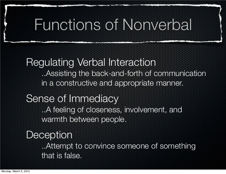 Functions of Nonverbal                  Regulating Verbal Interaction                         ..Assisting the back-and-for...