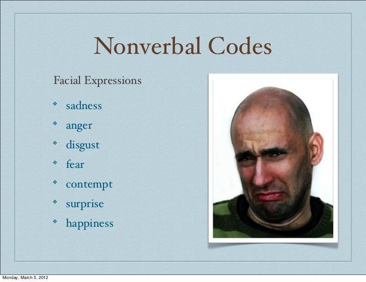 Nonverbal Codes                        Facial Expressions                        ❖                            sadness     ...