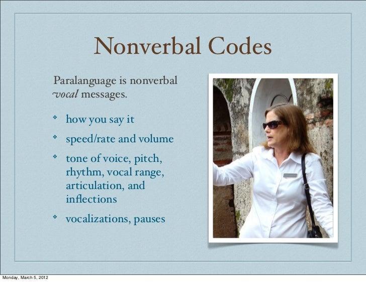 Nonverbal Codes                        Paralanguage is nonverbal                        vocal messages.                   ...