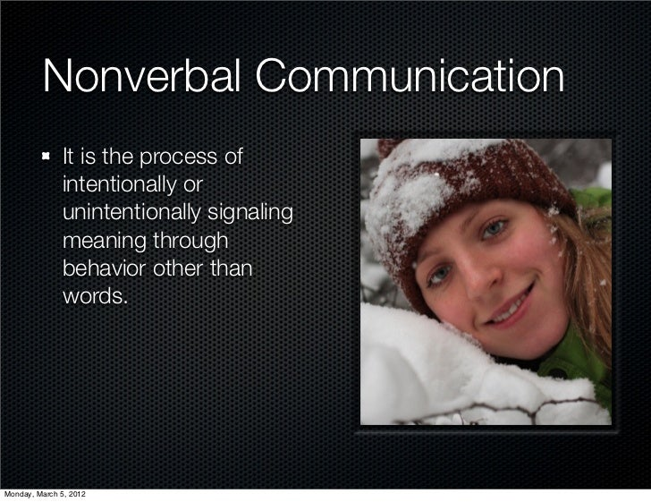 Nonverbal Communication              It is the process of              intentionally or              unintentionally signa...