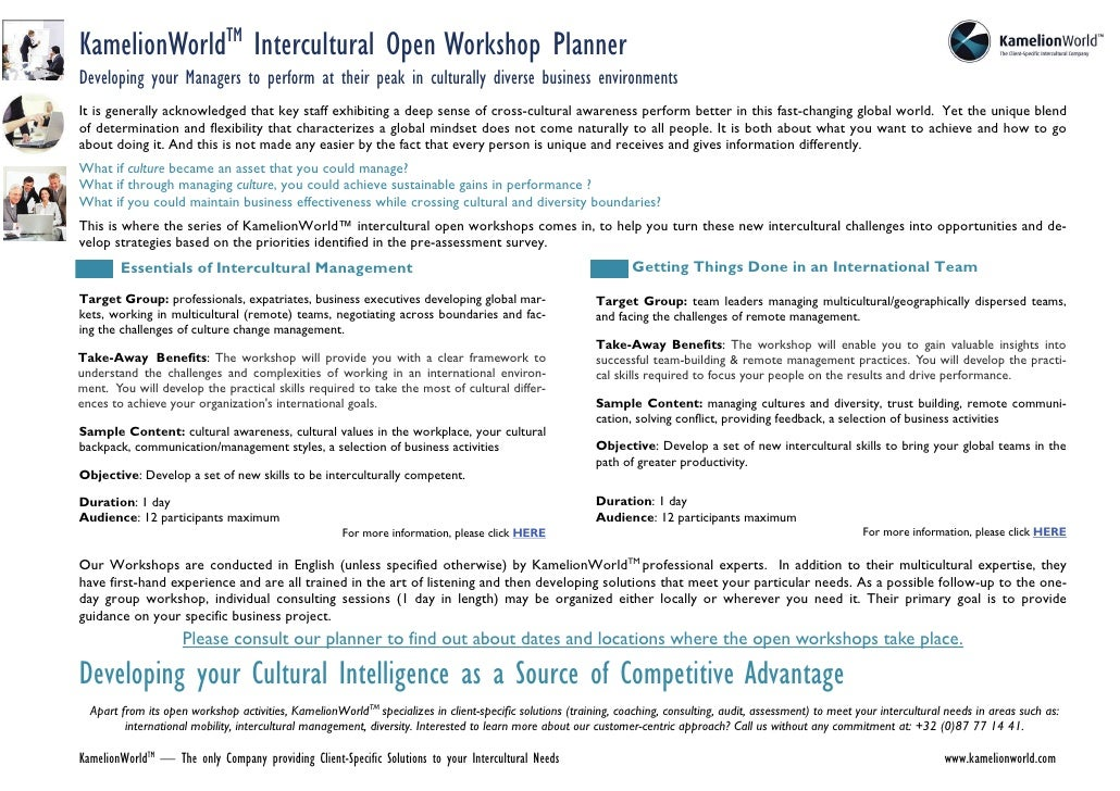 KamelionWorldTM Intercultural Open Workshop Planner Developing your Managers to perform at their peak in culturally divers...