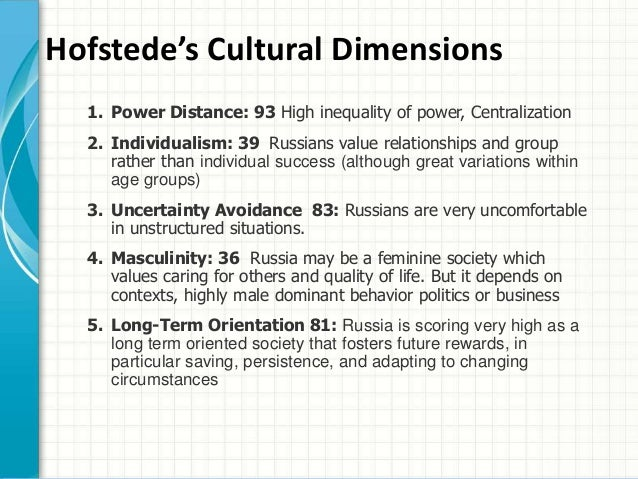 hofstede's cultural dimensions and tourist behaviors Hofstede's five cross-cultural dimensions have been broadly applied in the literature money and crotts recently applied the dimension of uncertainty avoidance to a matched sample comprised of low uncertainty avoidance german and high uncertainty avoidance japanese tourists, finding their behaviours consistent with those behaviours predicted by.