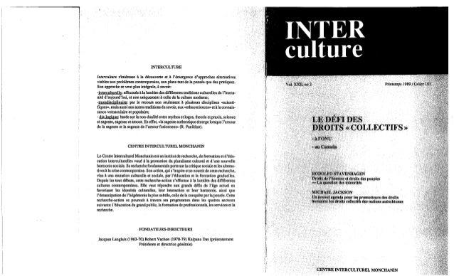 Interculture 15 le defis des droit collectifs