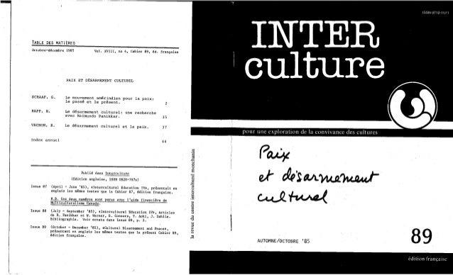 Interculture 20 paix et désarmement culturel
