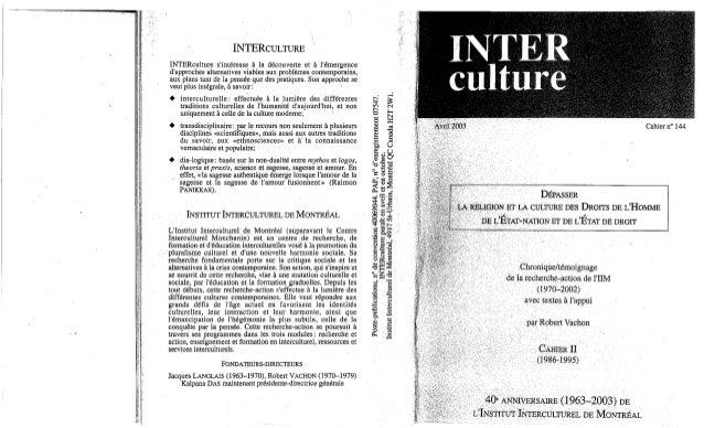 Interculture 5 interculture-4-depasser la religion et la culture des droits de l'homme, de l'état nation et de l'état de...