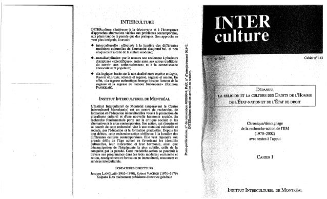 Interculture 6 interculture-4-depasser la religion et la culture des droits de l'homme, de l'état nation et de l'état de...