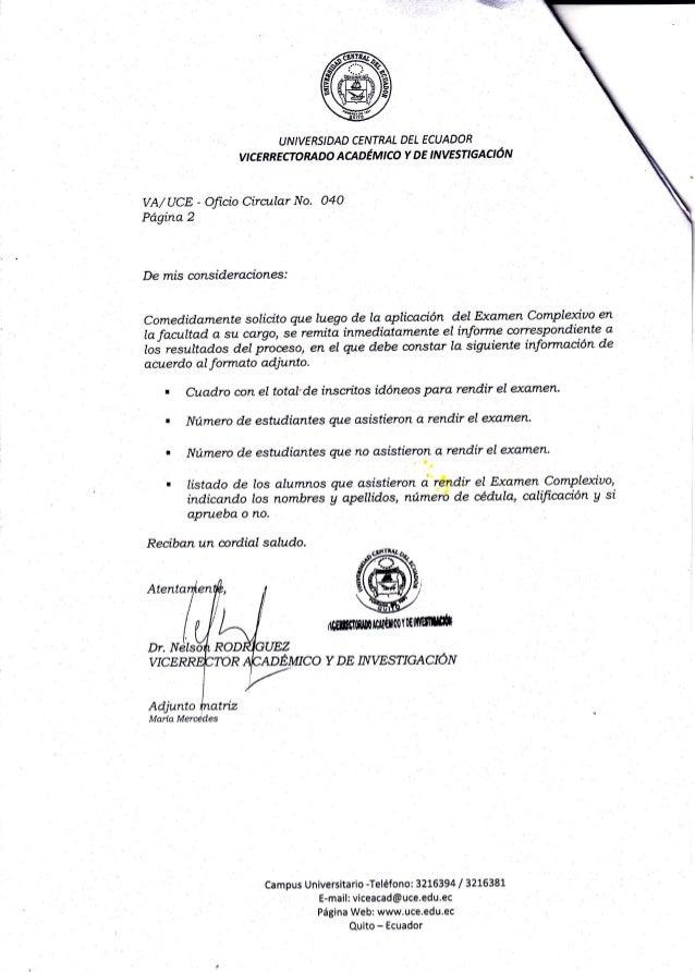 "re IJNIVERSIDAD CENTRAL DEL ECUADOR vtcERREcroRADo AcADEntco Y DE ,NvEsnaeqÓ¡'t VA/UCE - Oftcio Cira,úar No. 04O Pd""gina 2..."