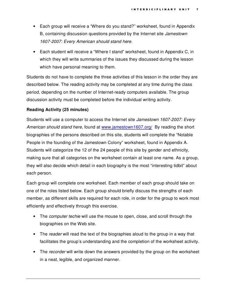 Interdiciplinary Unit – Jamestown Worksheet
