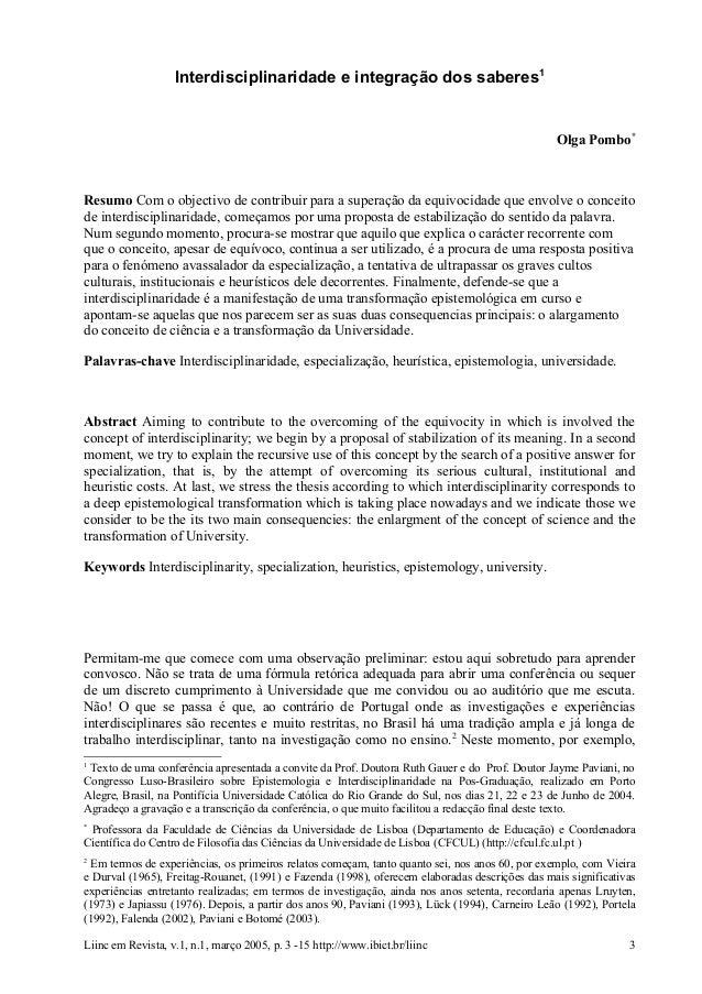 Interdisciplinaridade e integração dos saberes1                                                                           ...