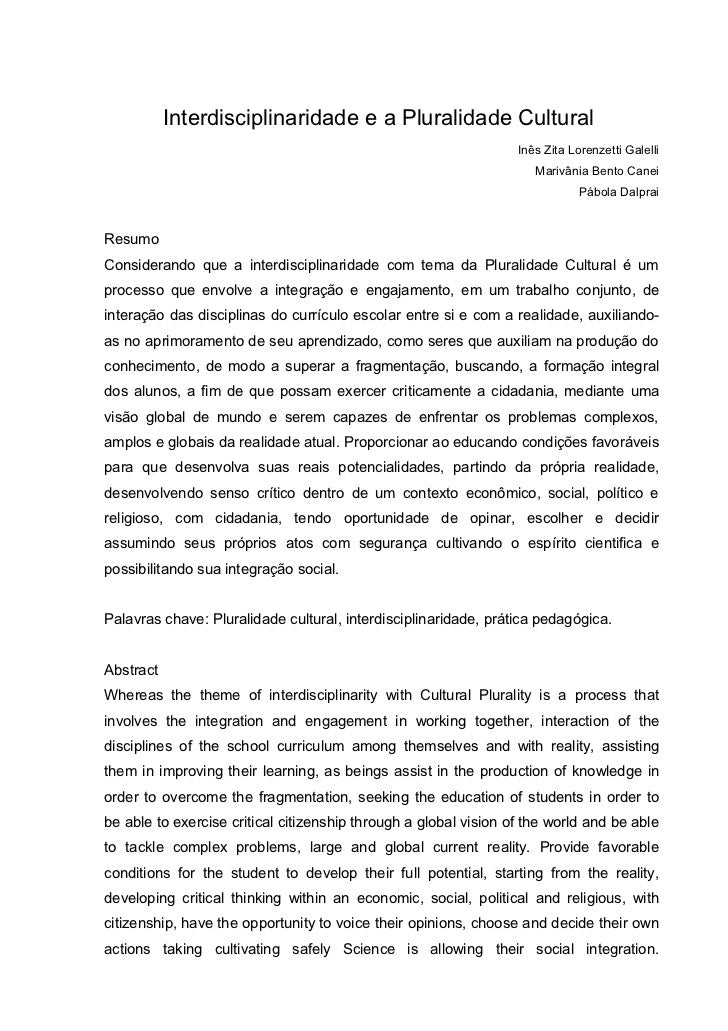 Interdisciplinaridade e a Pluralidade Cultural                                                                  Inês Zita ...