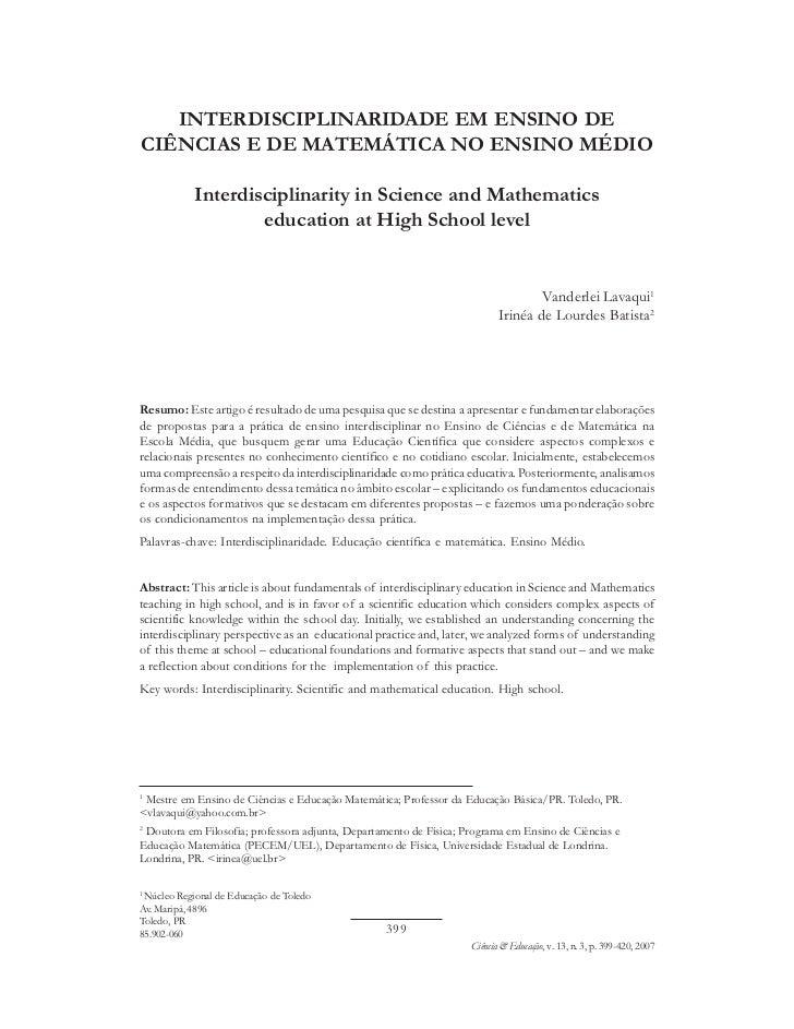 INTERDISCIPLINARIDADE EM ENSINO DECIÊNCIAS E DE MATEMÁTICA NO ENSINO MÉDIO            Interdisciplinarity in Science and M...