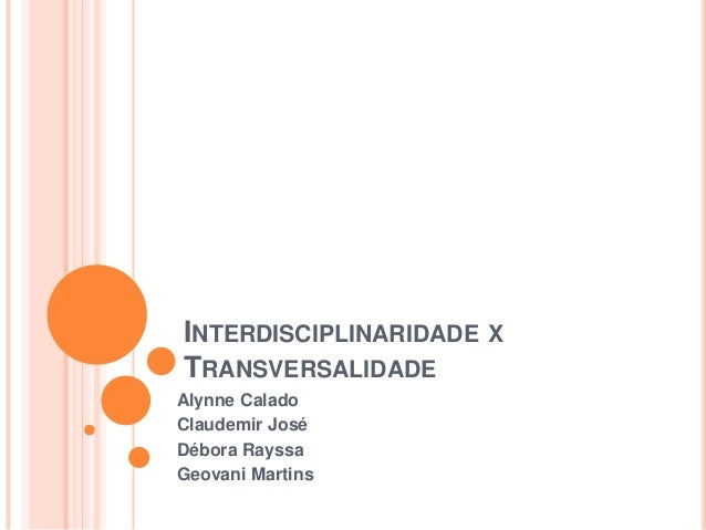 INTERDISCIPLINARIDADE X TRANSVERSALIDADE Alynne Calado Claudemir José Débora Rayssa Geovani Martins