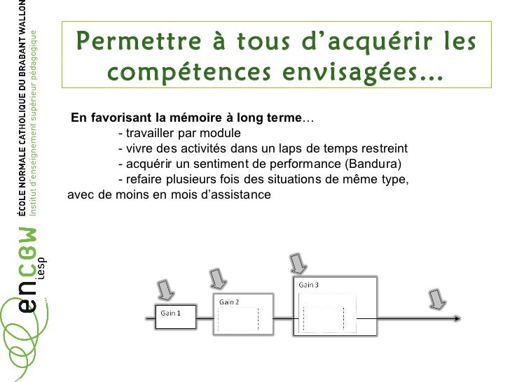Permettre à tous d'acquérir les compétences envisagées… En favorisant la mémoire à long terme …  - travailler par module -...