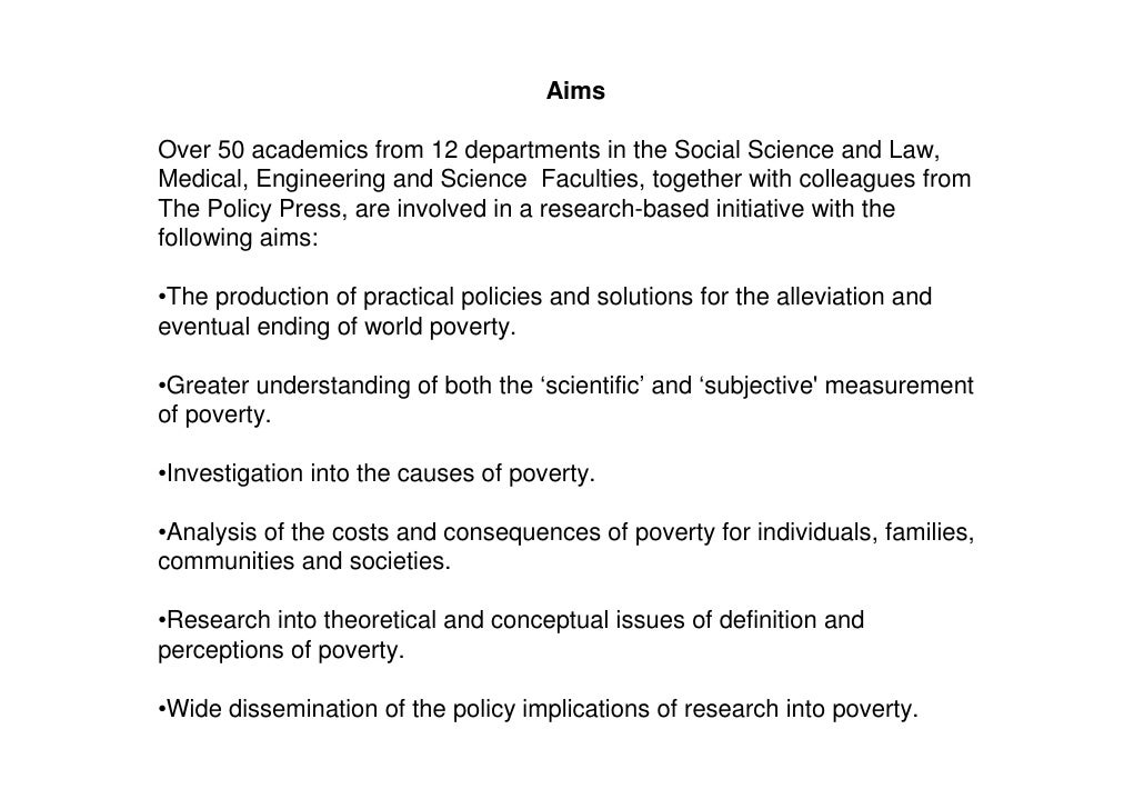 An analysis of the issues of poverty
