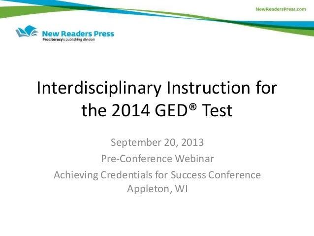 Interdisciplinary Instruction For 2014 Ged Test Preparation